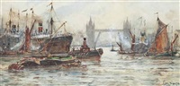bustling activity in the pool of london by frederick william scarborough