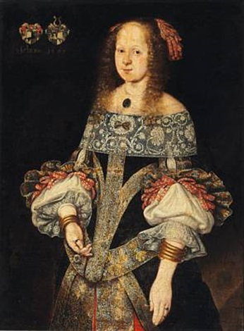 portrait of a young girl in a dress with laces by anonymous danish 17
