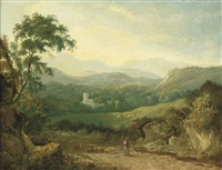 a mountainous landscape near porthmadog, with a shepherd, his flock and a collie in a lane, a traveller in the distance, cows in a dale and a village... by george barret