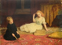 children playing a game by james archer
