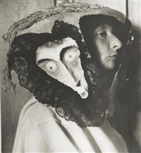 remedios varo, wearing a mask made by leonora carrington and kati horna by kati horna