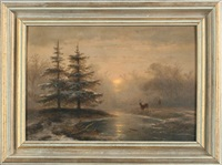 dutch winter landscape by johannes franciscus hoppenbrouwers