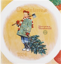 scotty gets his tree: a design for a holiday plate by norman rockwell
