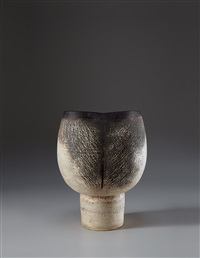 important and large goblet form with vertical impressions by hans coper