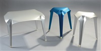 nature of material, coffee table and stools (3 works) by gilli kuchik and ran amitai