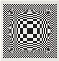 composition cinétique noir et blanc by victor vasarely