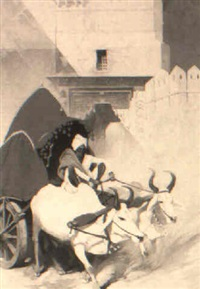 man driving oxcart through indian street by thornton oakley