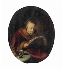 an old woman reading a book by gerrit dou