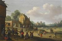 village scene with figures outside an inn by joost cornelisz droochsloot
