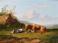 kuh mit zwei ziegen in weiter landschaft by johannes hubertus leonardus de haas
