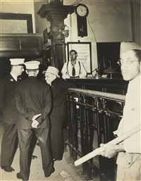 mayor la guardia at the west 123rd street police station by weegee