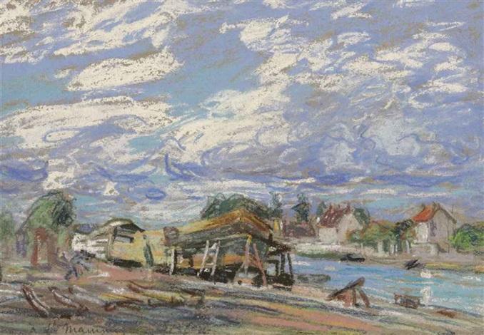 saint mammès construction de bateaux by alfred sisley