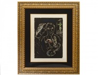 the artist on a black background by marc chagall