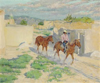 riding through isleta by walter ufer