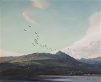 wild ducks leaving sannox, isle of arran (+ another; pair) by vernon ward