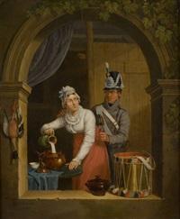 la préparation du repas interrompue by cornelis van cuylenburg