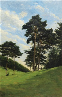 arbres dans la prairie by antoine chintreuil