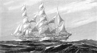 trois-mâts barque vue par le travers by georges fouille