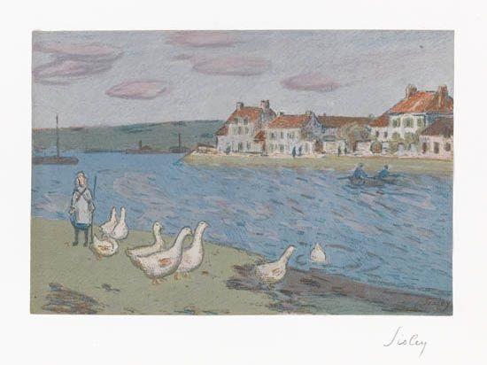 les bords de rivière les oies from lalbum destampes originales de la galerie vollard by alfred sisley