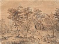 dorfszene mit bauernhäusern und staffagefiguren, im vordergrund ein teich, wäscherinnen und ein ziehbrunnen by jan brueghel the younger