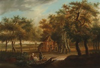 wooded landscape with four figures sitting in the foreground and several others carrying out the day's work in and around a cottage in a clearing by jan baptist huysmans