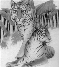 two tigers in bamboo grove by william h. rapp