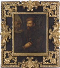 portrait of a gentleman in a brown doublet and cap standing at a window with a landscape beyond by nicolo dell' abbate