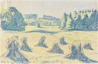 blaue kornpuppen auf einer waldwiese by max pechstein