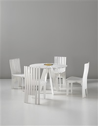 early garden furniture set of four chairs, model no. 310, and a sunflower table, model no. 310, designed for the villa mairea, noormarkku by alvar aalto and aino aalto