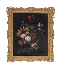 carnations, roses, peonies, tulips, and poppies in a glass vase, all on a wooden ledge by simon pietersz verelst