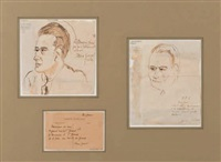 deux portraits (2 works in 1 frame) by max jacob