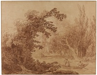 a wooded landscape with figures in a boat and fishermen beyond by hubert robert