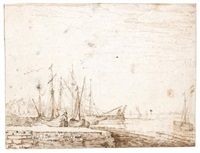 harbour scene with shipping by cornelis claesz van wieringen