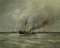 bateau à vapeur en mer by frederick j. sang