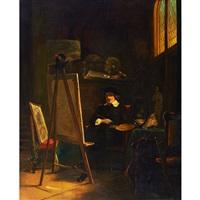 rembrandt in his studio by johann cornelius mertz