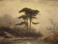 an oil sketch of trees near a stream at dusk by johannes franciscus hoppenbrouwers