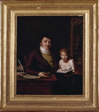 portrait of a gentleman in his study, his daughter reading on his knee by pauline auzou