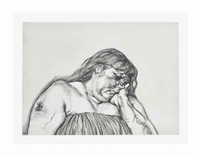 woman with an arm tattoo by lucian freud
