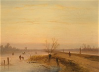 winterabend by johannes franciscus hoppenbrouwers