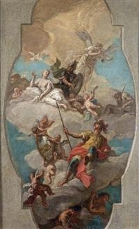 apothéose d'un guerrier, étude pour un plafond by giovanni battista crosato