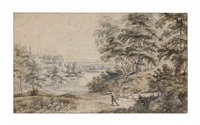 a wooded landscape with a huntsman by jacques d' arthois