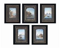 scenes of naples (5 works) by domenico ammirato