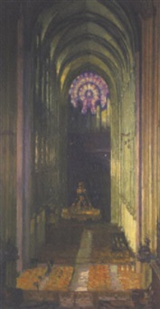 intérieur de cathédrale by maurice lobre