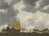 dutch ships awaiting repair on the ij at amsterdam by reinier nooms