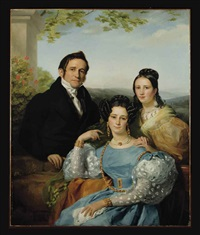 portrait of théodore joseph jonet and his two daughters by françois joseph navez