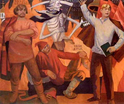 russe depicting sergei yesenin and death coming with his scythe by aleksei artemev