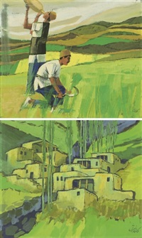 workers houses (+ workers in the fields; 2 works) by parviz kalantari