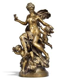 jeune femme et deux enfants ailes by mathurin moreau