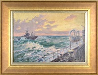 soviet coast guard ships in rough seas (+ soviet ship; 2 works) by piotr kolomoitsev