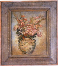 still life of mixed flowers in a vase by ethel a wallace